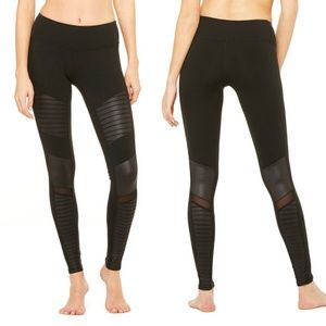 ALO YOGA Moto leggings black / glossy mesh